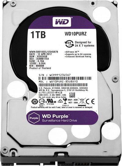 Жесткий диск HDD Western Digital Purple 1000 ГБ 3.5