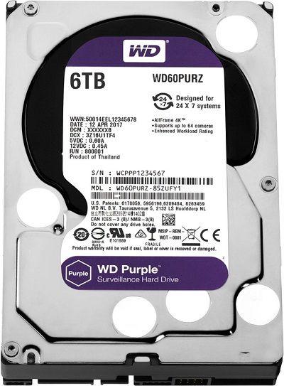 Жесткий диск HDD Western Digital Purple 6000 ГБ 3.5