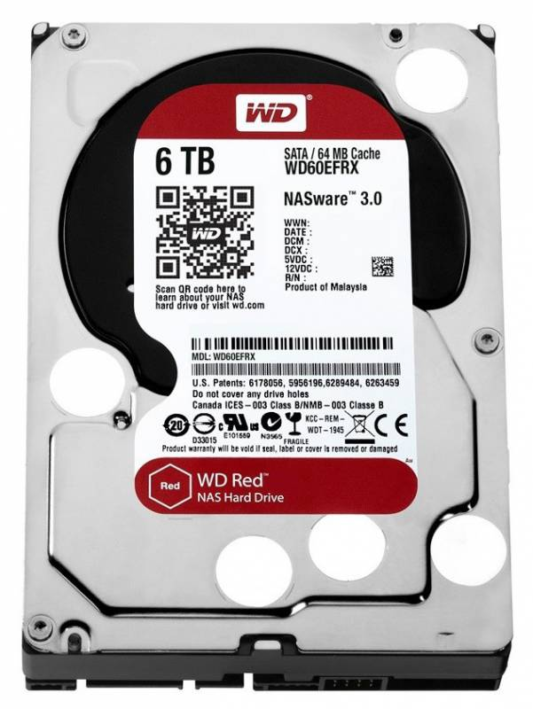 Жесткий диск HDD Western Digital Red for NAS 6000 ГБ 3.5